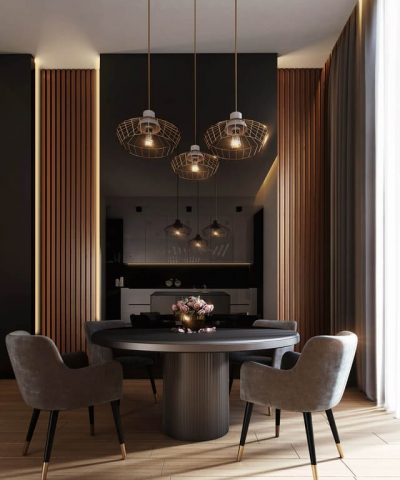 gray-dining-table-under-pendant-lamps